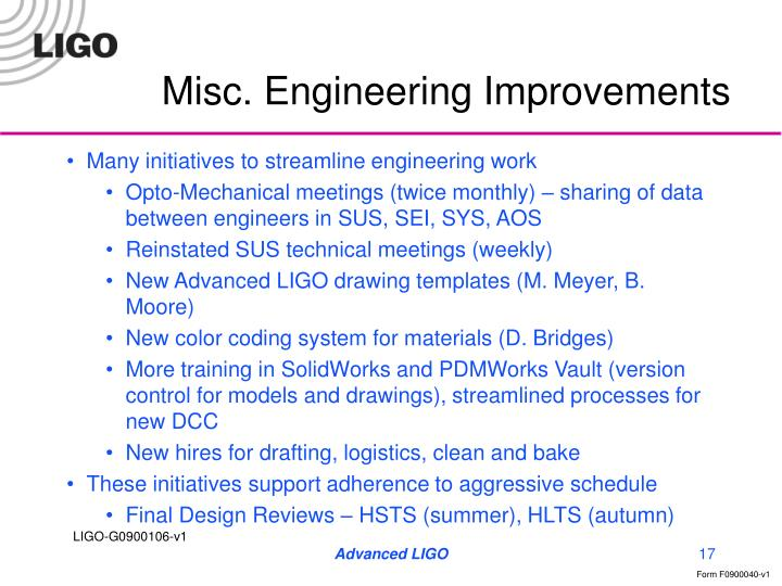 Misc. Engineering Improvements