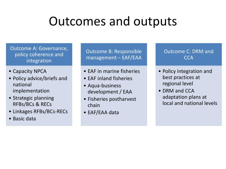 Outcomes and outputs