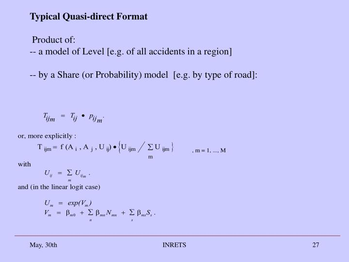 Typical Quasi-direct Format