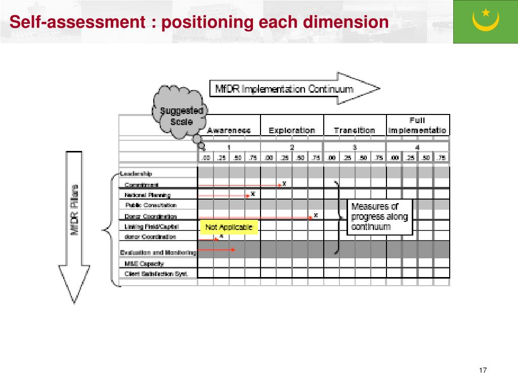 Self-assessment : positioning each dimension