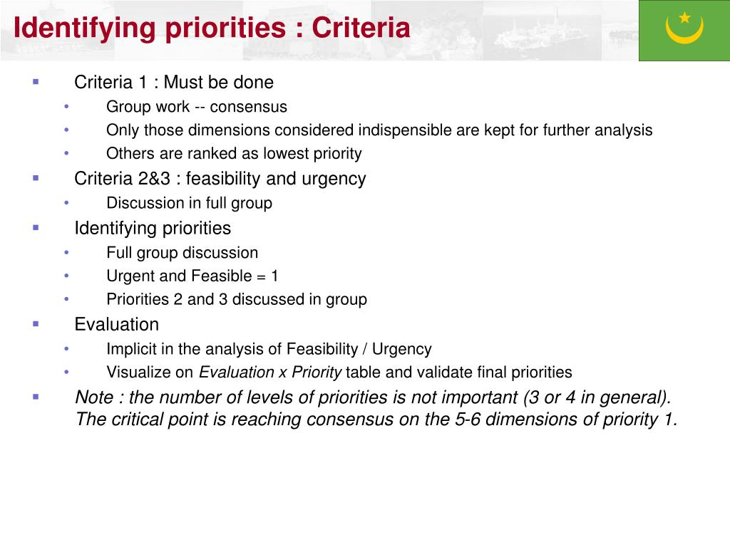 Identifying priorities : Criteria