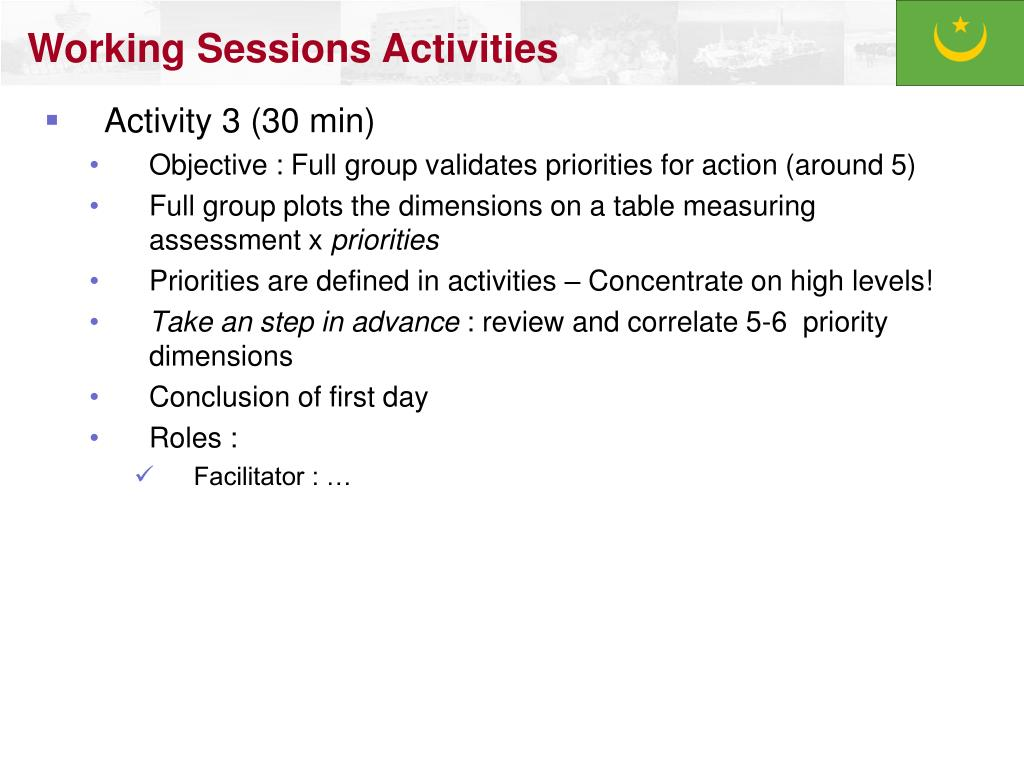 Working Sessions Activities