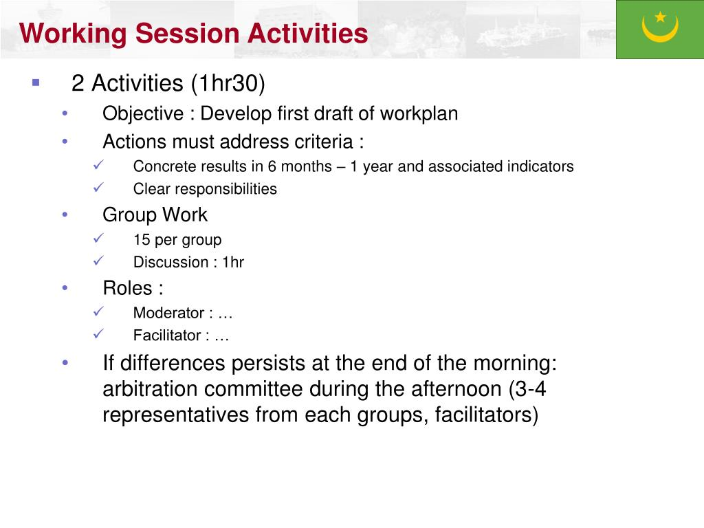 Working Session Activities