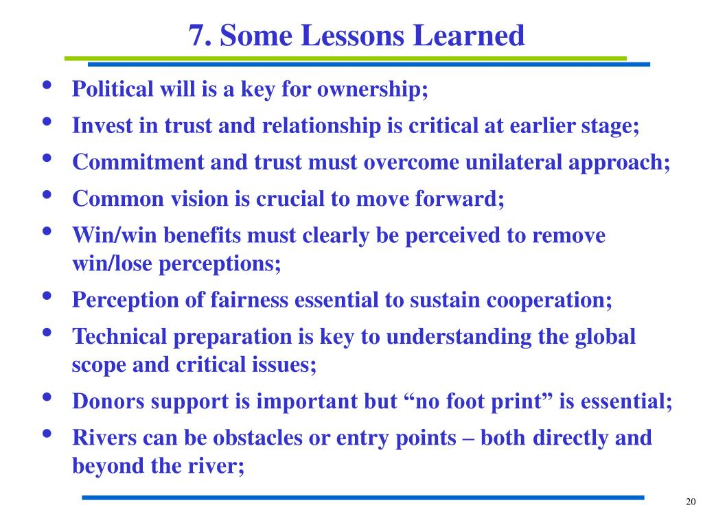 7. Some Lessons Learned