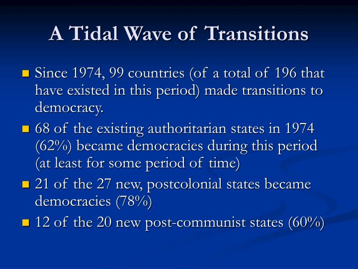 A tidal wave of transitions