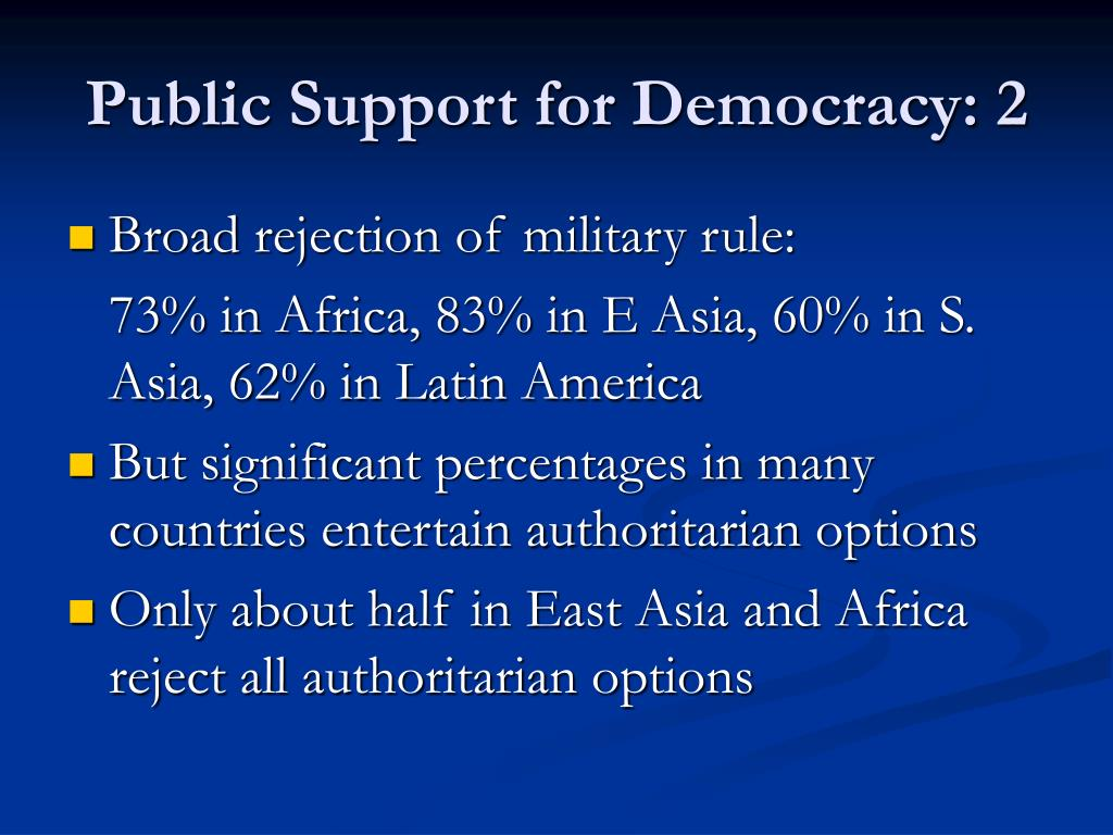 Public Support for Democracy: 2