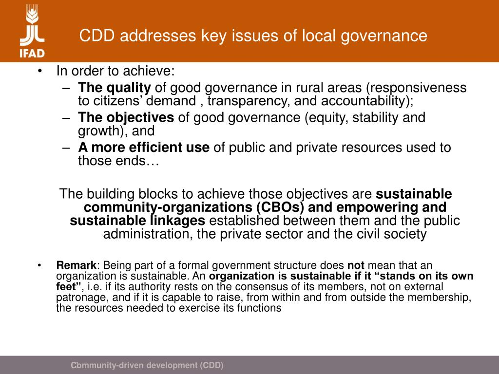 CDD addresses key issues of local governance