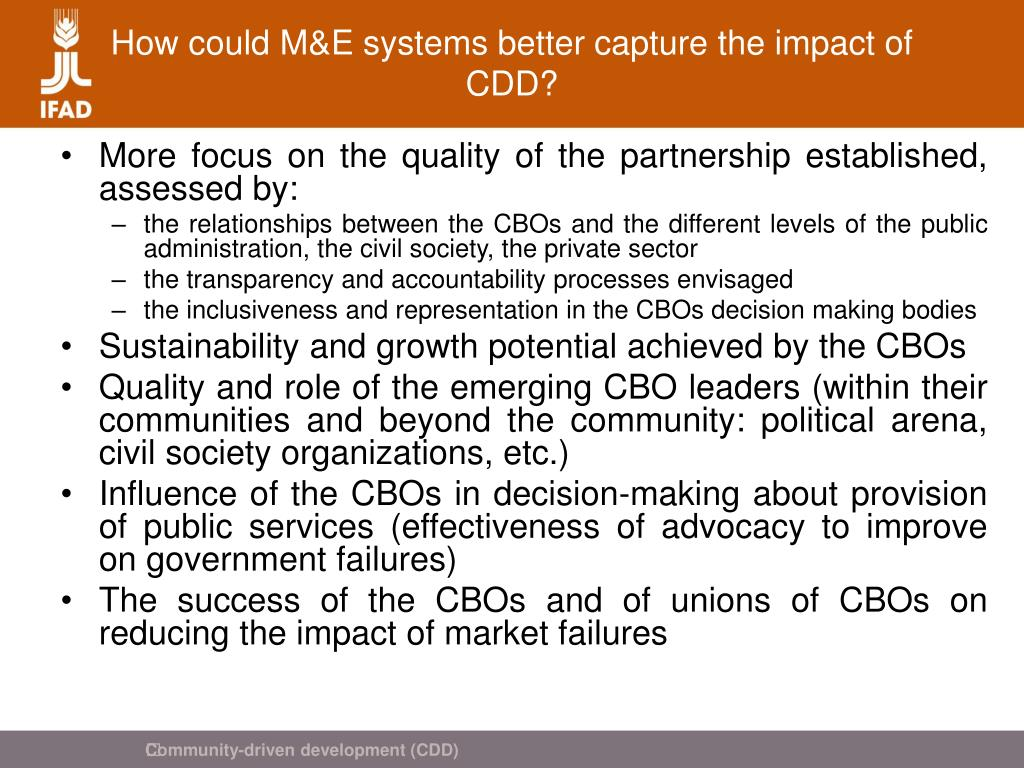 How could M&E systems better capture the impact of CDD?