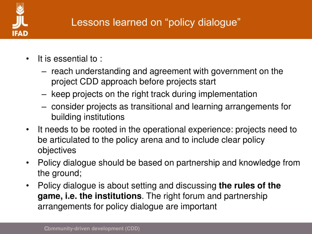 "Lessons learned on ""policy dialogue"""