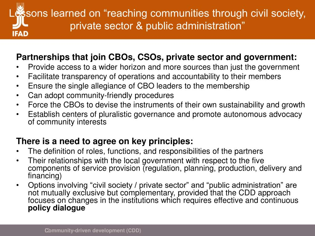 "Lessons learned on ""reaching communities through civil society, private sector & public administration"""