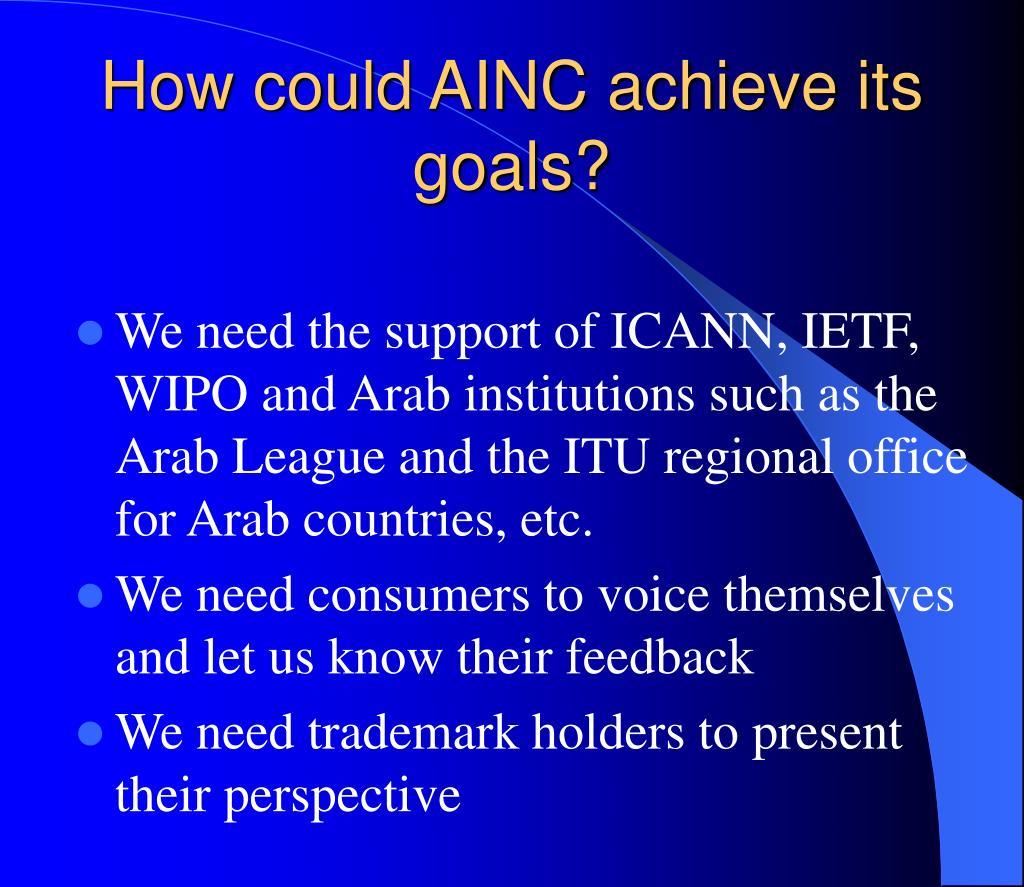 How could AINC achieve its goals?