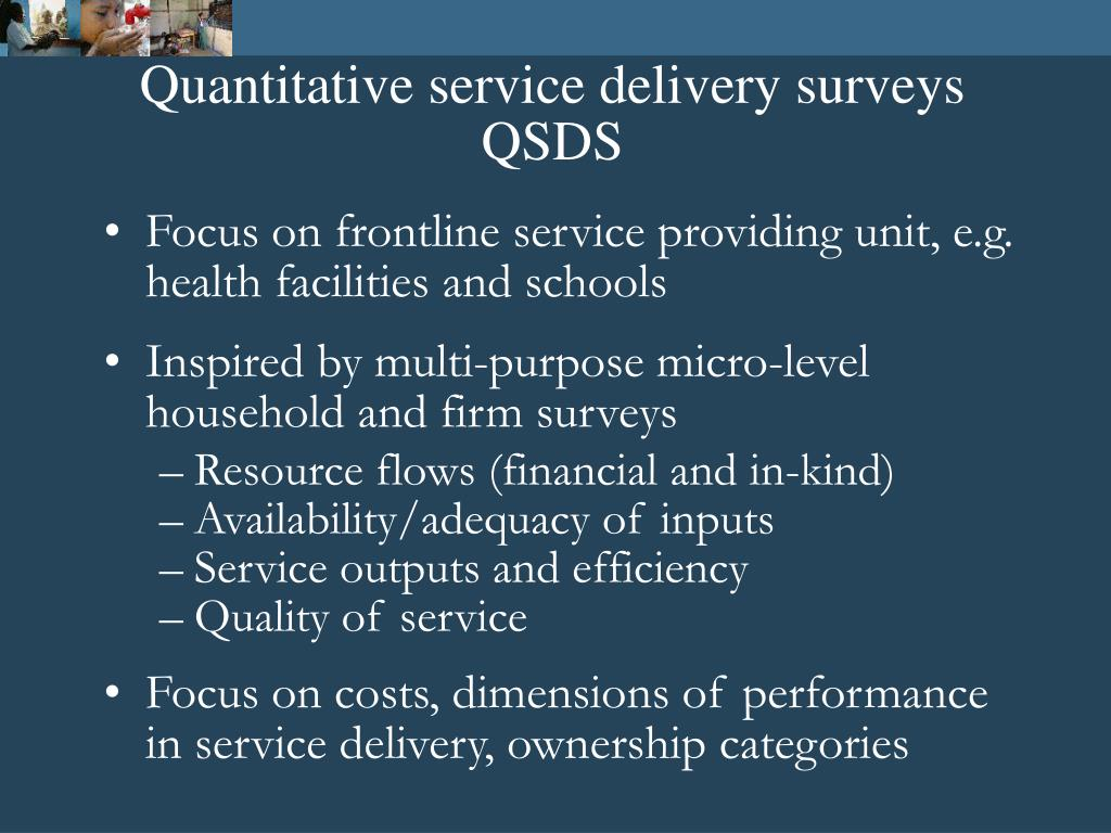 Quantitative service delivery surveys QSDS