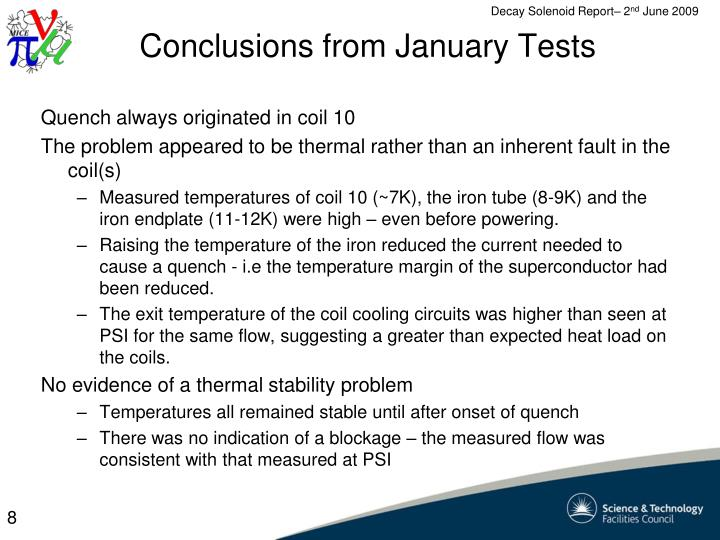 Conclusions from January Tests