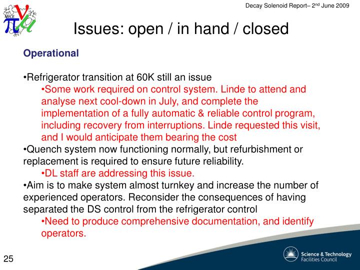 Issues: open / in hand / closed