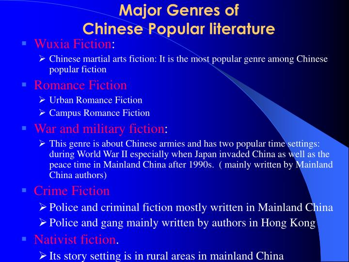 Major genres of chinese popular literature