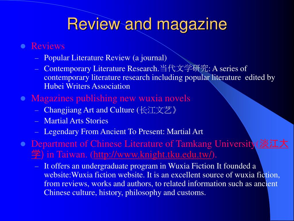 Review and magazine