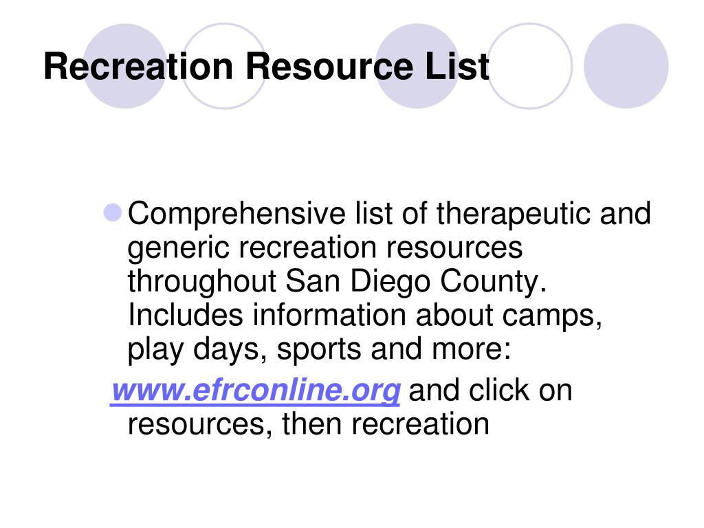 Recreation Resource List