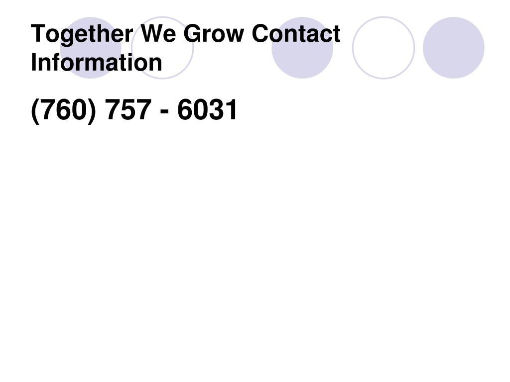 Together We Grow Contact Information