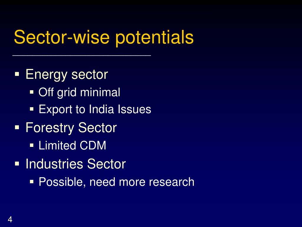Sector-wise potentials