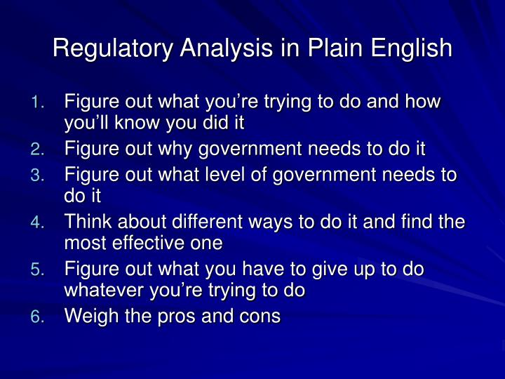 Regulatory Analysis in Plain English