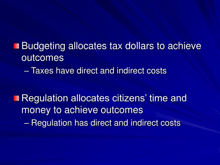 Budgeting allocates tax dollars to achieve outcomes