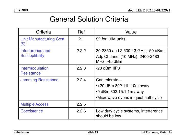 General Solution Criteria