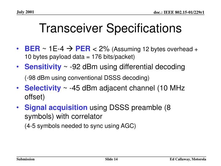 Transceiver Specifications