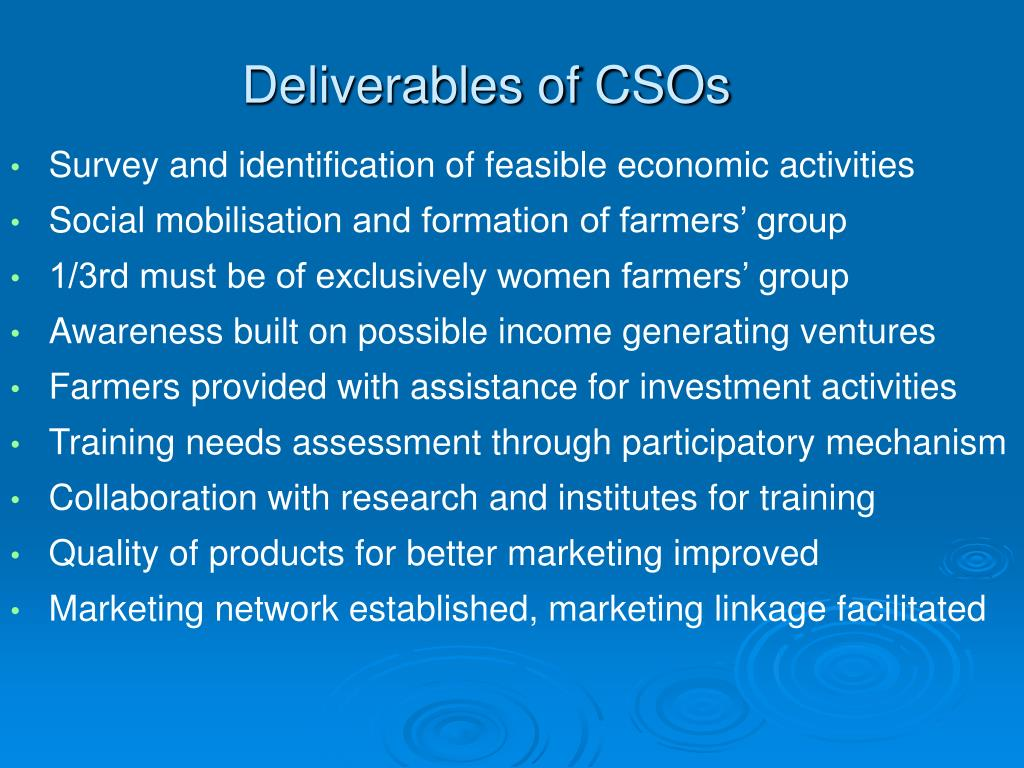 Deliverables of CSOs