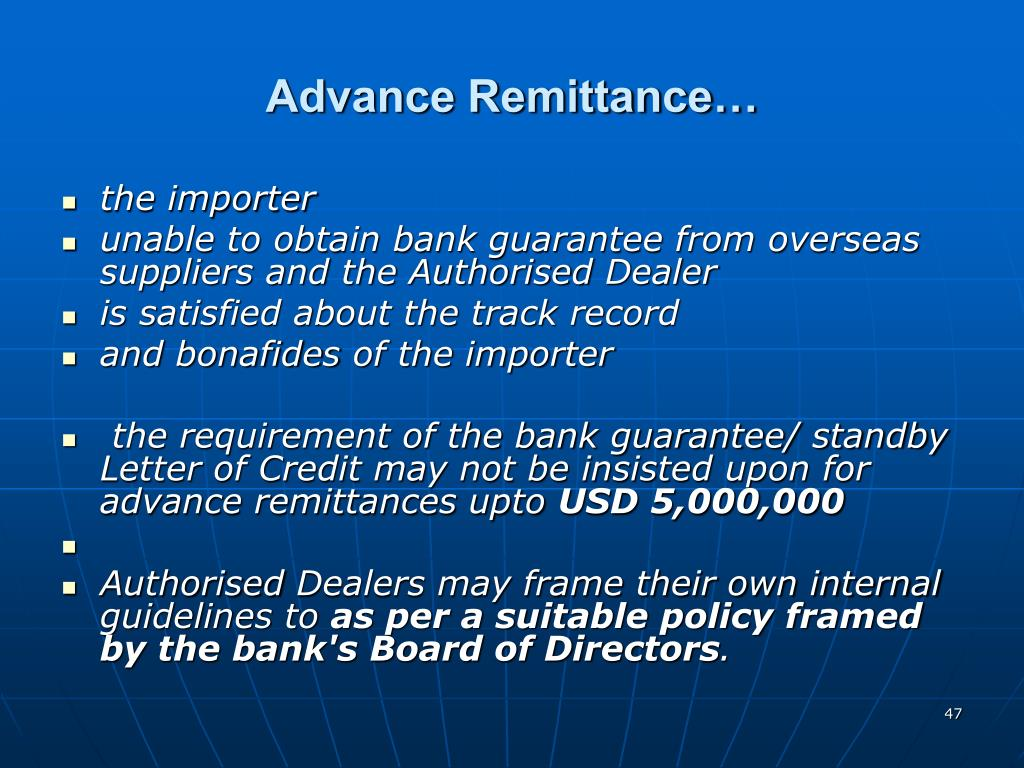 Advance Remittance…
