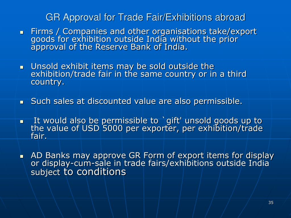 GR Approval for Trade Fair/Exhibitions abroad