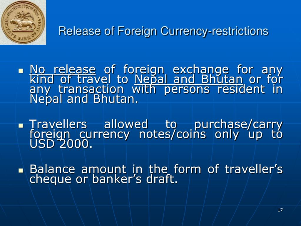 Release of Foreign Currency-restrictions