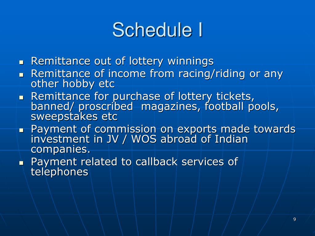 Schedule I