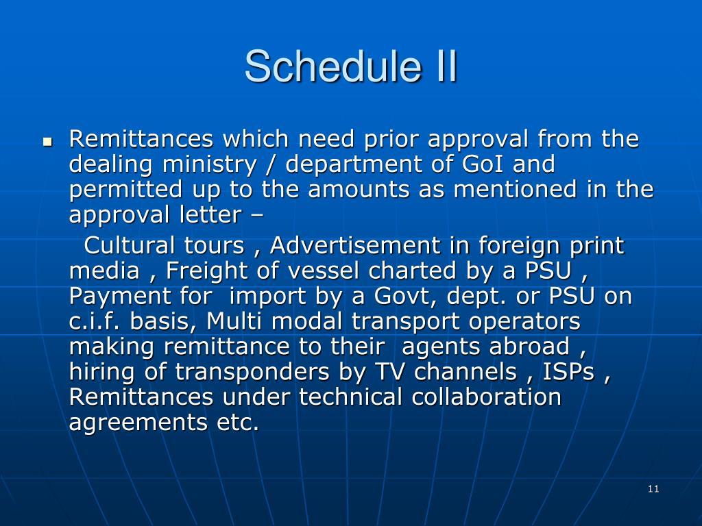 Schedule II