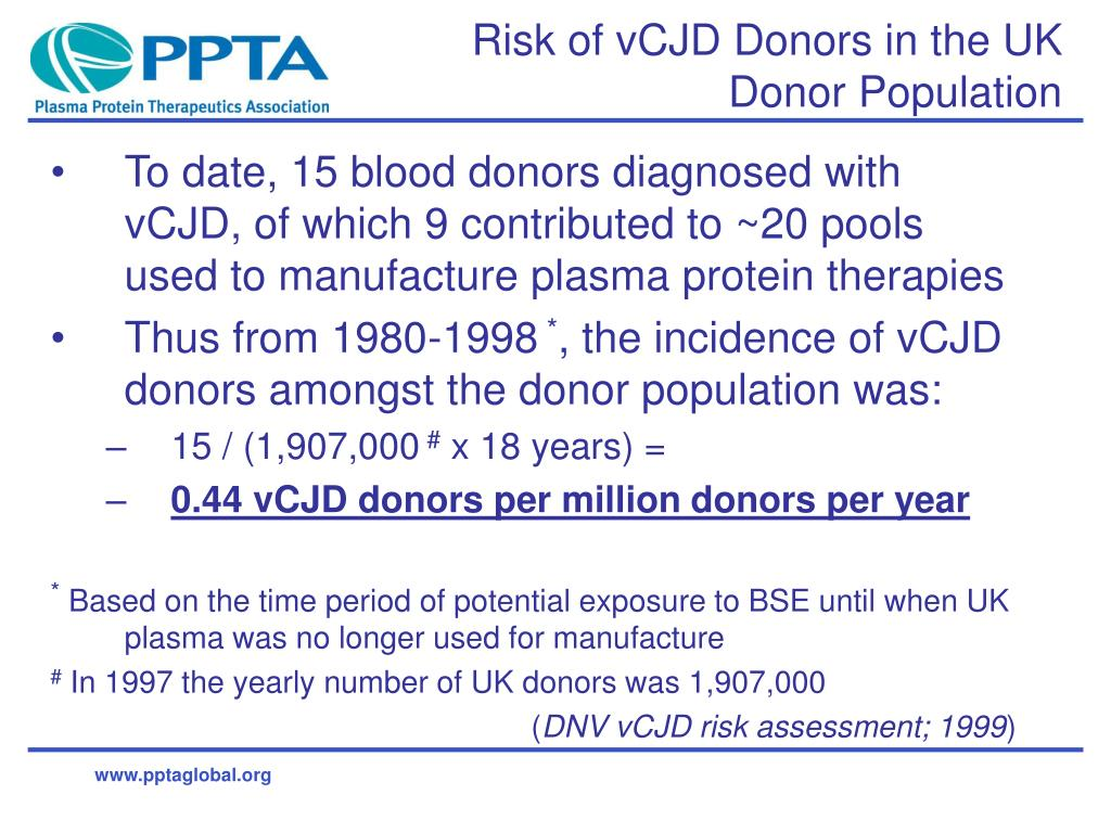 Risk of vCJD Donors in the UK Donor Population