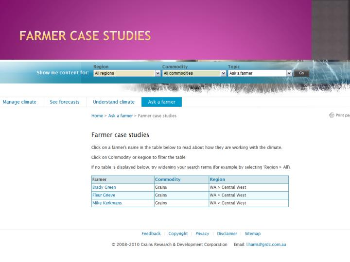 Farmer case studies