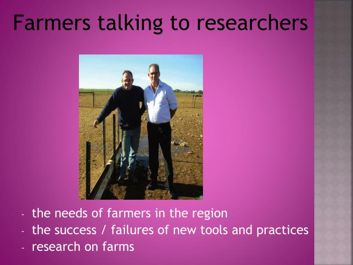 Farmers talking to researchers