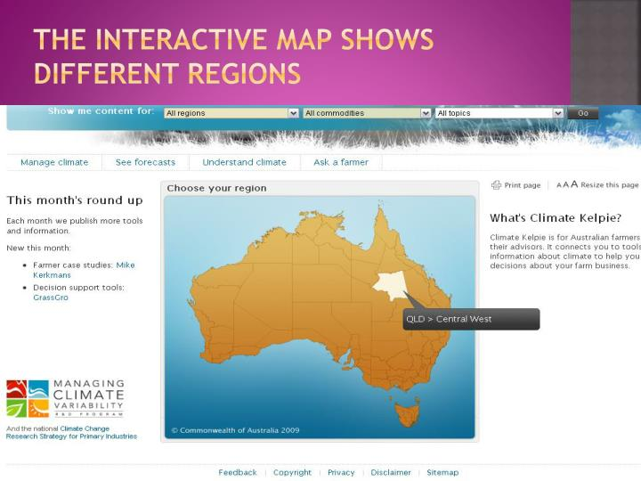 The interactive map shows different regions