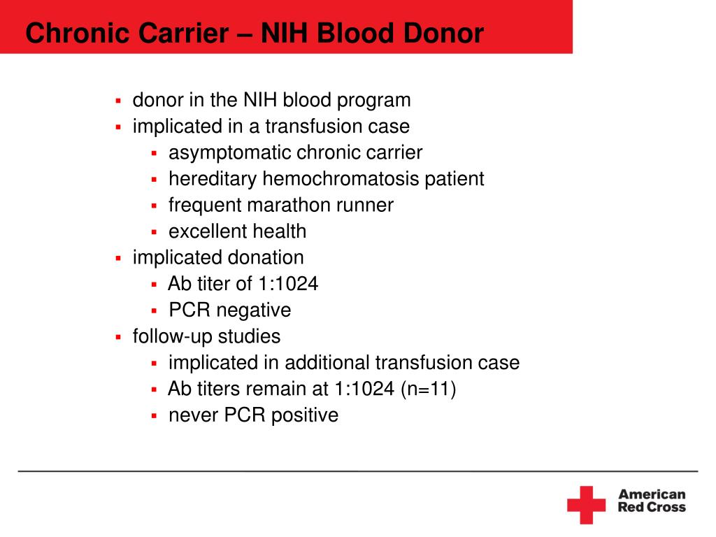 Chronic Carrier – NIH Blood Donor
