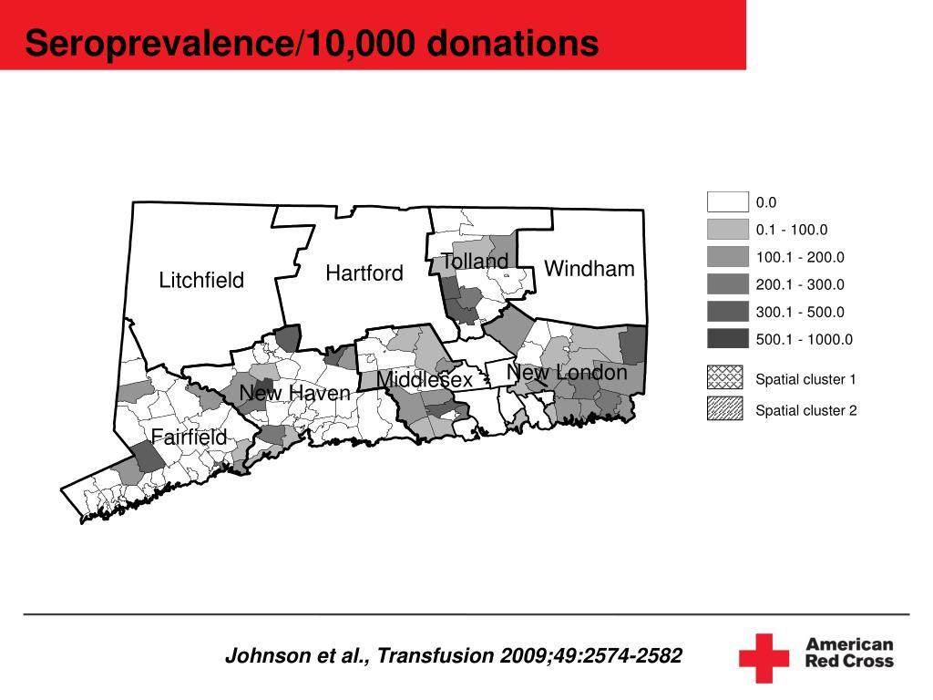 Seroprevalence/10,000 donations