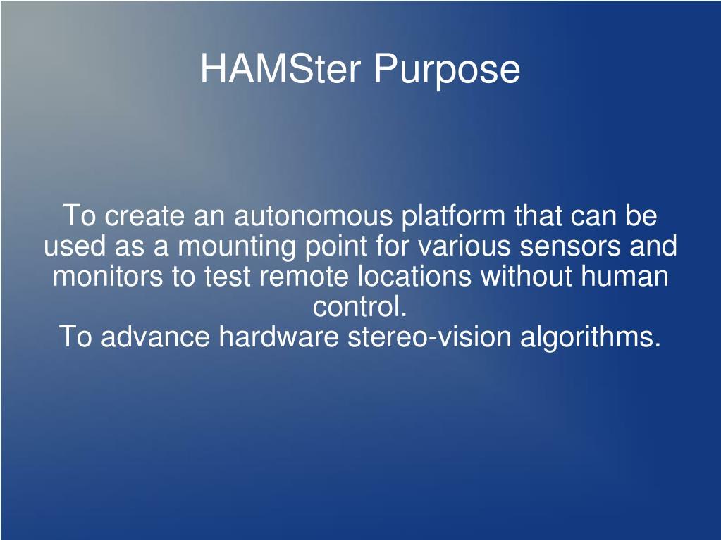 HAMSter Purpose
