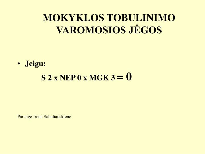 MOKYKLOS TOBULINIMO VAROMOSIOS JĖGOS