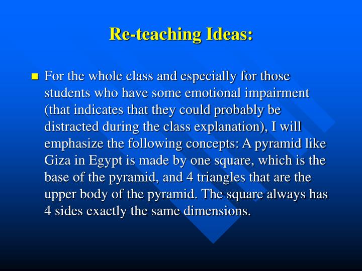Re-teaching Ideas: