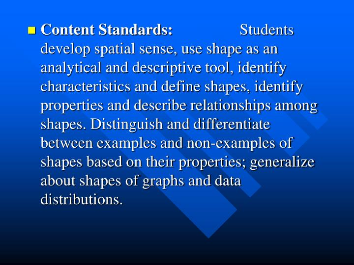 Content Standards: