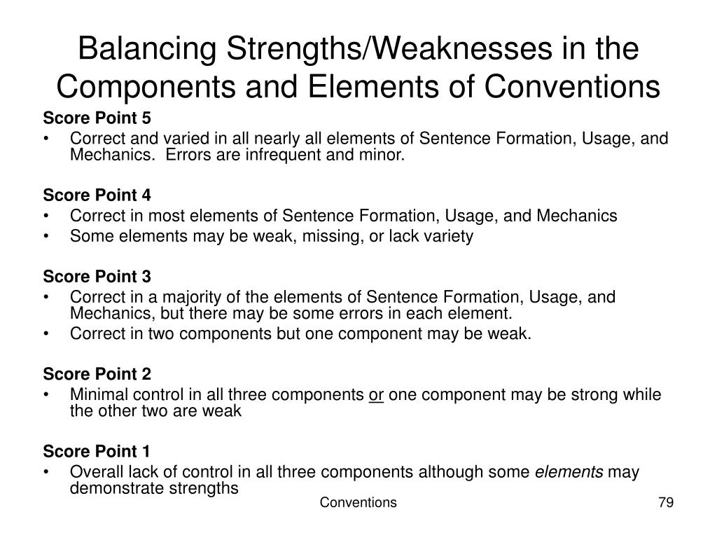 Balancing Strengths/Weaknesses in the Components and Elements of Conventions