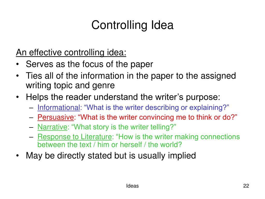 Controlling Idea