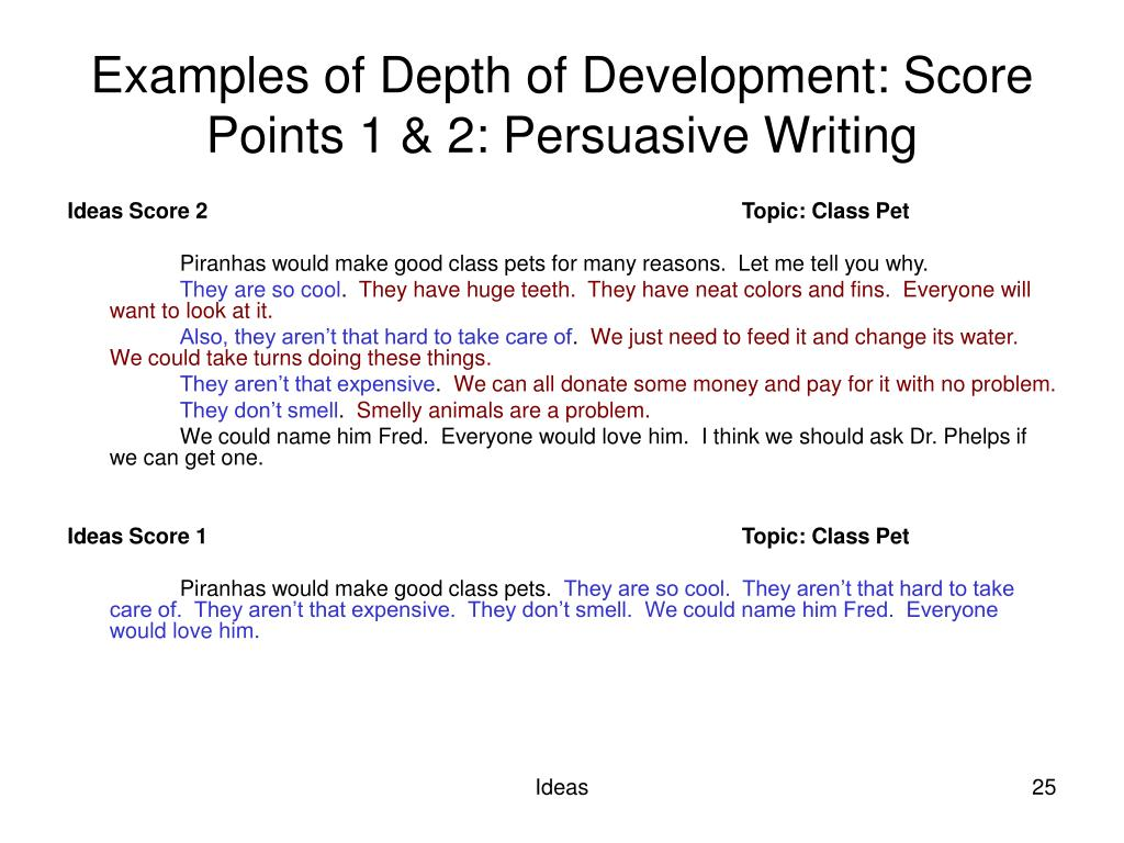 Examples of Depth of Development: Score Points 1 & 2: Persuasive Writing