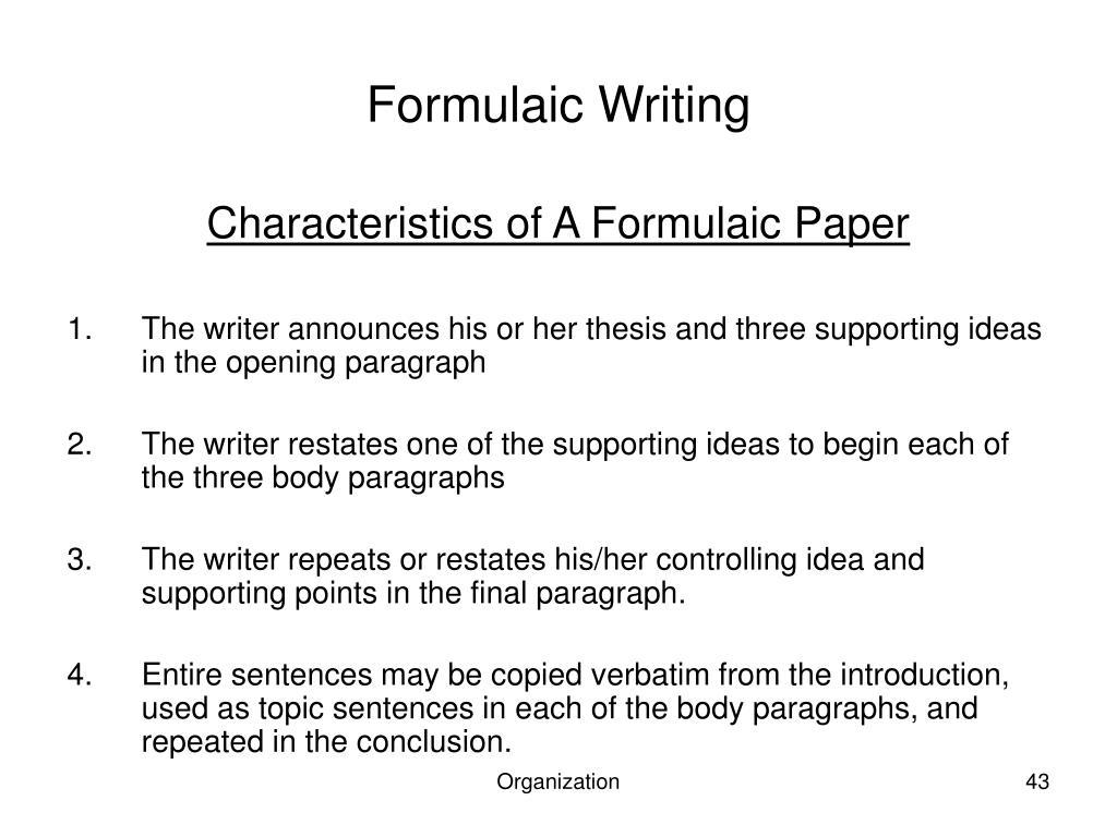 Formulaic Writing