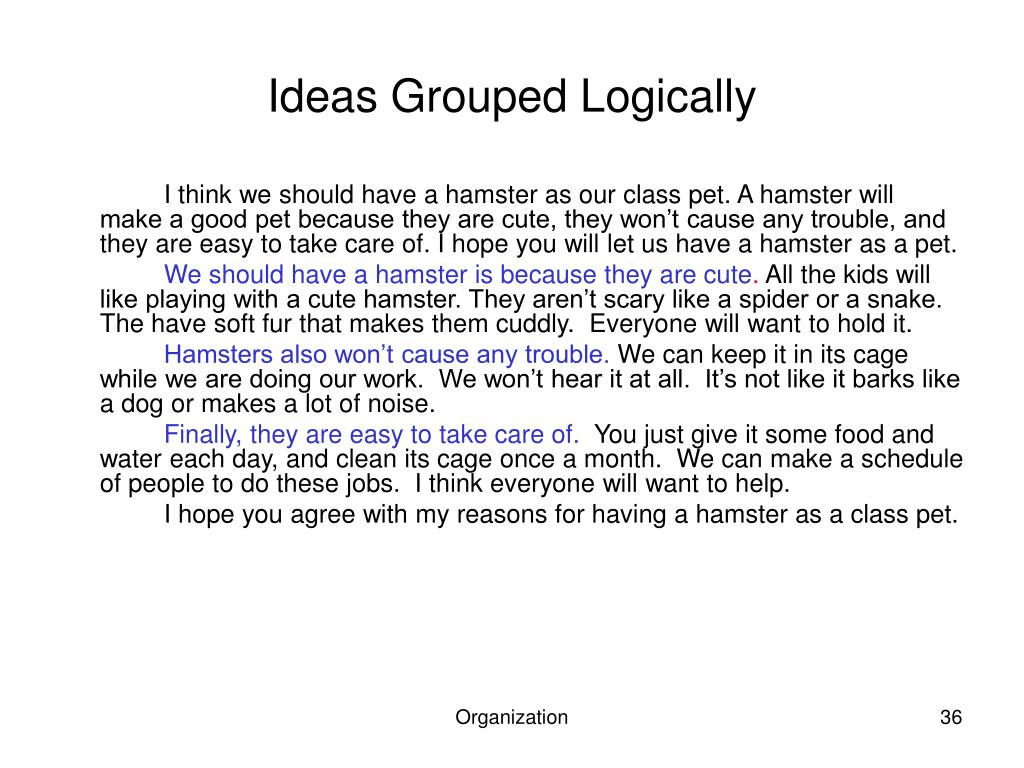 Ideas Grouped Logically