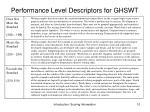 performance level descriptors for ghswt