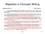 repetition in formulaic writing